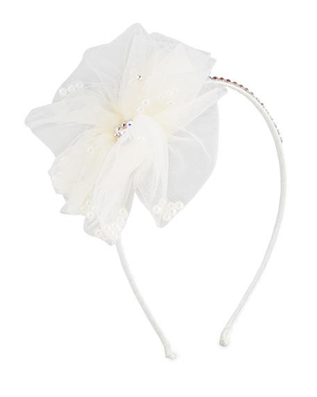 Bari Lynn Girl's Flower w/ Pearl Headband