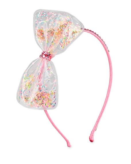 Bari Lynn Girl's Bow w/ Confetti Headband