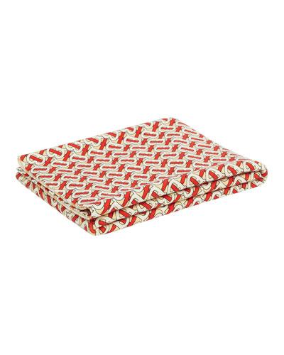 Freddie Monogram Print Merino Wool Baby Blanket