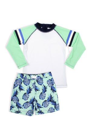 Shade Critters Boy's Stripe Rash Guard with Pineapple Trunks, Size 2-6