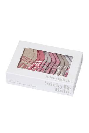 Sticky Be Socks Girl's Winnie 6-Pack Sock Set, Size 6-24 Months