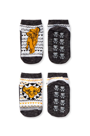 Tiny Soles by Tavi Noir Kid's Lion King 2-Pack Low Rise Grip Socks, Size S-M