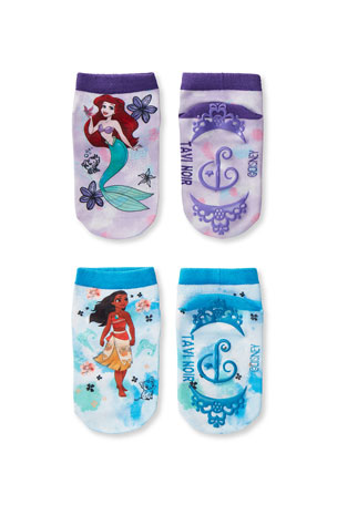 Tiny Soles by Tavi Noir Kid's Disney Princess 2-Pack Low Rise Grip Socks, Size S-M