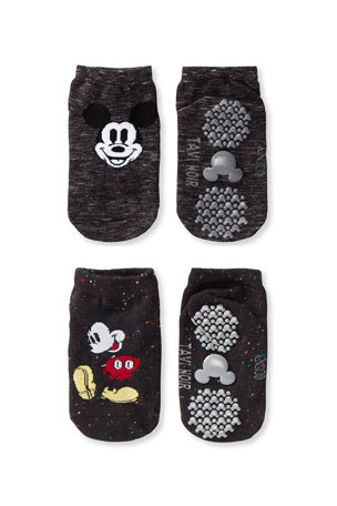 Tiny Soles by Tavi Noir Kid's Mickey Mouse 2-Pack Low Rise Grip Socks, Size S-M