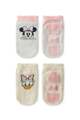 Tiny Soles by Tavi Noir Kid's Minnie Mouse & Daisy Duck 2-Pack Grip Socks, Size S-M