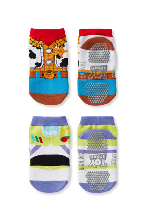 Tiny Soles by Tavi Noir Kid's Toy Story 2-Pack Low-Rise Grip Socks, Size S-M