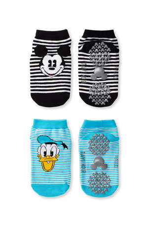 Tiny Soles by Tavi Noir Kid's Mickey Mouse & Donald Duck 2-Pack Grip Socks, Size S-M