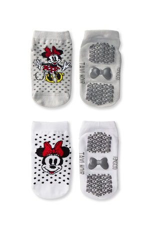 Tiny Soles by Tavi Noir Kid's Minnie Mouse 2-Pack Low Rise Grip Socks, Size S-M