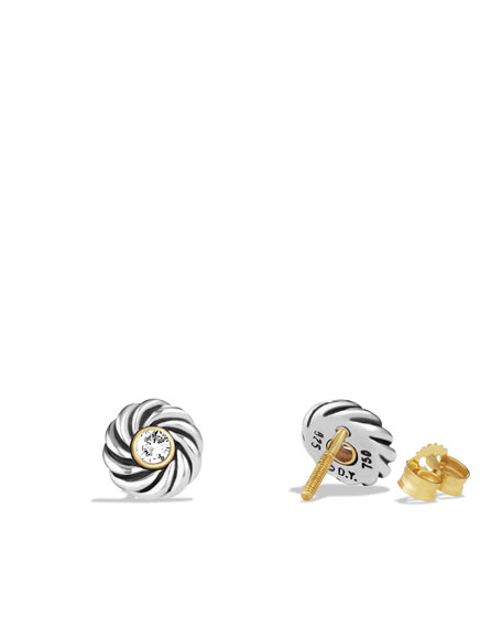 Cable Kids® April Birthstone Earrings with Diamonds and Gold