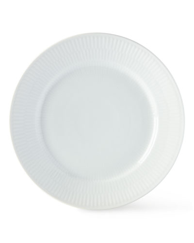 White Fluted Dinner Plate