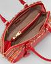 Saffiano Crystal-Studded Promenade Bag, Red/Orange