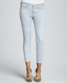 7 For All Mankind Skinny Victorian Lace-Print Cropped Jeans