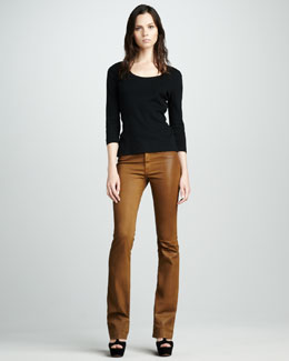 Rich and Skinny Possey Mustard Faux-Leather Boot-Cut Jeans