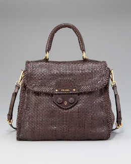 Prada Madras Woven Top-Handle Satchel