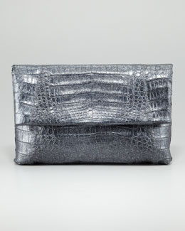 Nancy Gonzalez Crocodile Fold-Over Clutch Bag