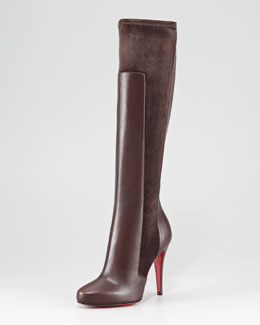 Christian Louboutin YSA Mixed-Media Tall Red Sole Boot
