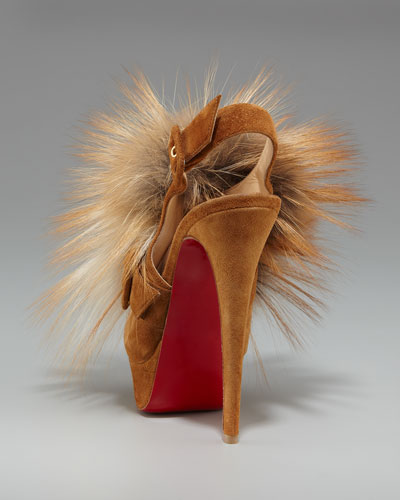 louboutin sneakers - christian louboutin slingback Splash Fur platform pumps Brown fox ...