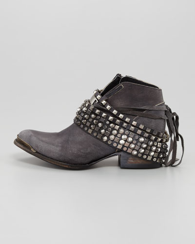 Freebird By Steven Mezcal Low Studded Leather Bootie