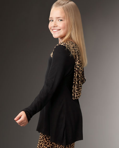 Hooded Leopard-Print Tunic, Sizes 2-4T