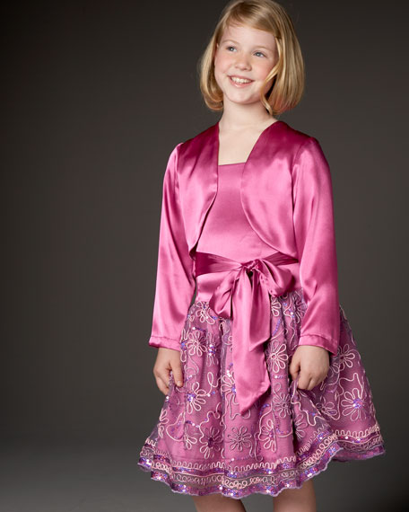 Embroidered-Skirt Dress