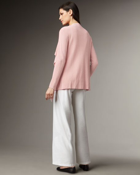 Draped Ribbed Cardigan, Petite