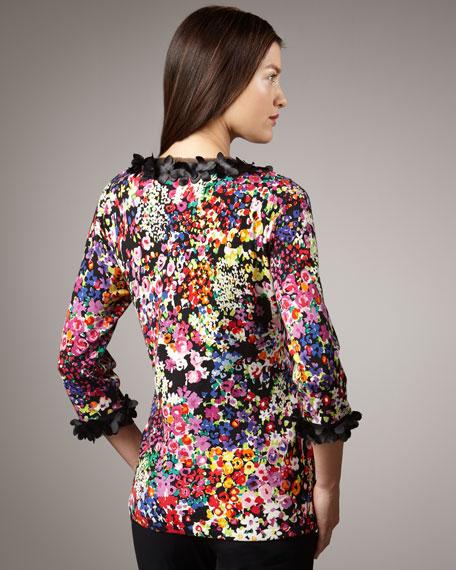 Classic Floral-Print Cardigan, Women's