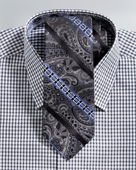 Striped Paisley Tie, Black