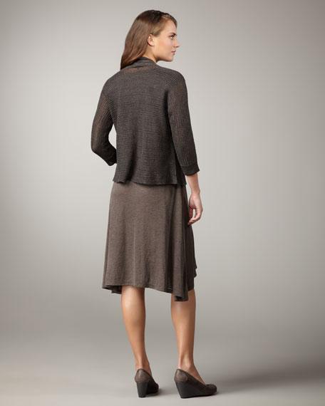 Linen-Silk Draped Cardigan, Petite