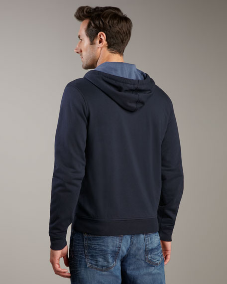 Waffle-Lined Zip Hoodie, Eclipse Blue