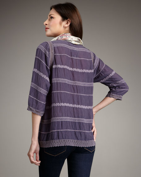 Eyelet-Stripe Top, Women's