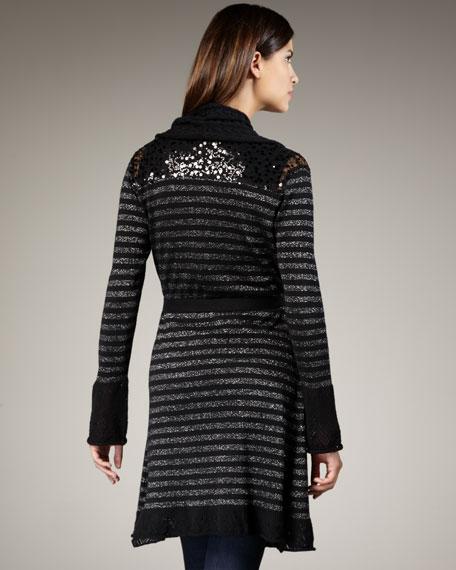 Metallic-Stripe Long Cardigan, Women's
