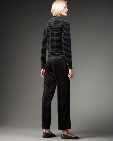 Velour Shimmer-Stripe Jacket, Petite