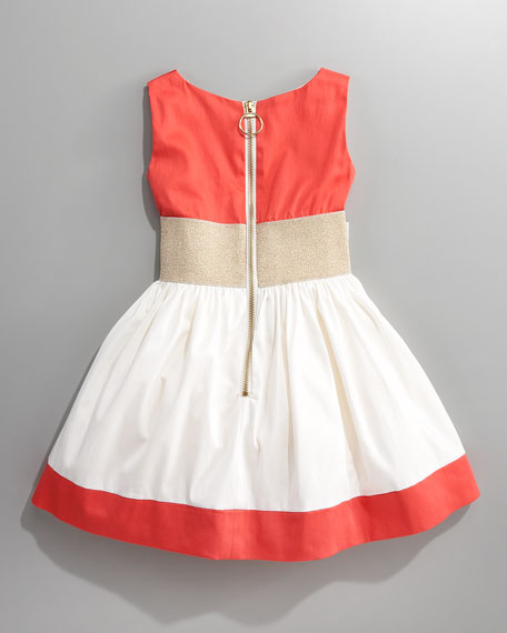 COLOR BLOCK DRESS W/JEWELED