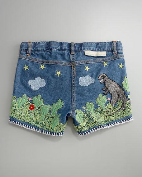 Hula Embroidered Scene Shorts