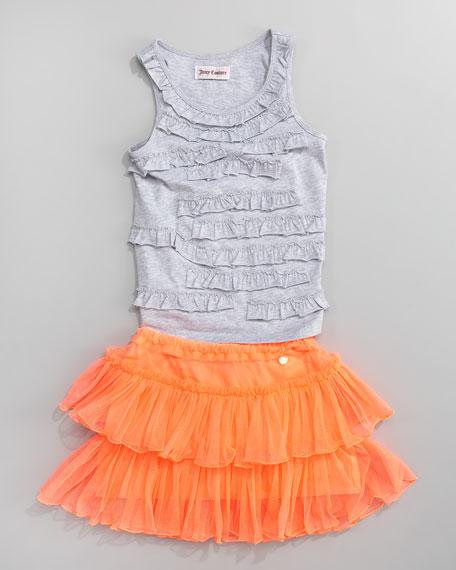 UV Orange Fluorescent Mesh Tutu, Sizes 2-6