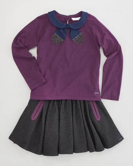 Contrast-Collar Blouse, Sizes 2-5
