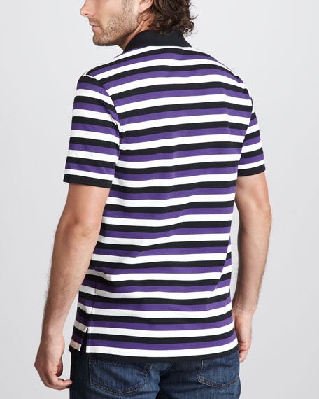 Zermatt Striped Pima Polo, Black/Gray