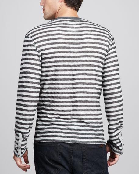 Double-Face Striped Sweater, Dark Merlot