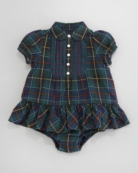 Mixed-Tartan Bib Dress