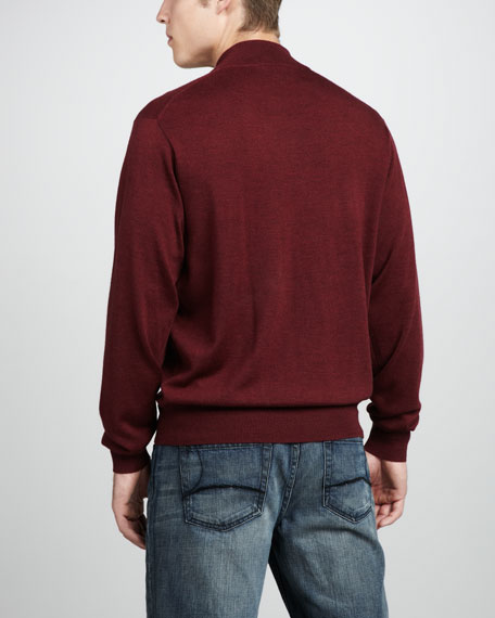 Leather-Trim Merino Zip Sweater, Currant