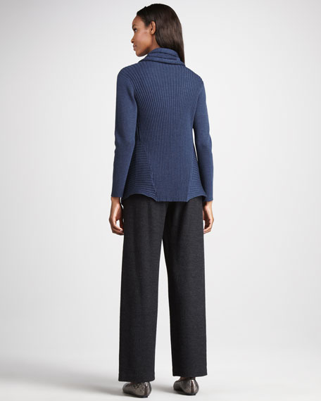 Wide-Leg Wool Pants, Petite