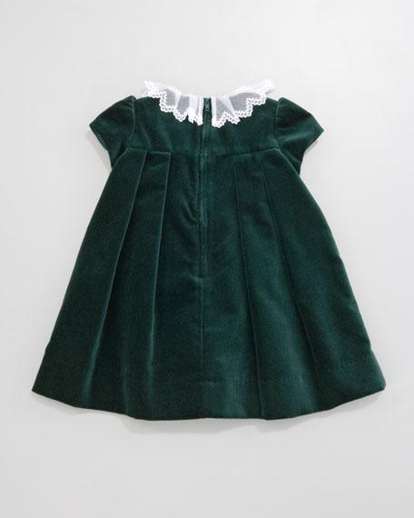 Lace-Collar Velvet Dress, 3-9 Months