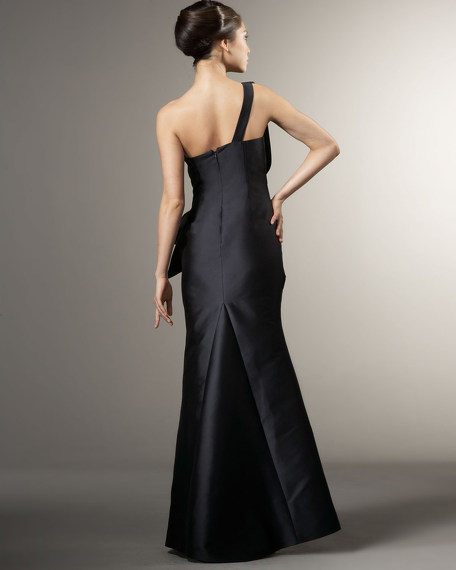 Draped One-Shoulder Zibeline Gown