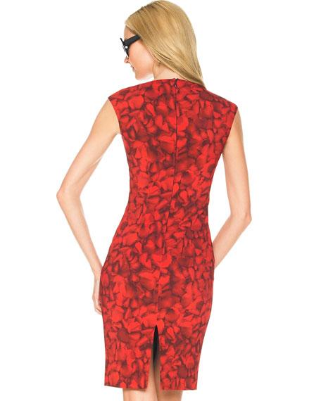 Rose-Print Sheath Dress