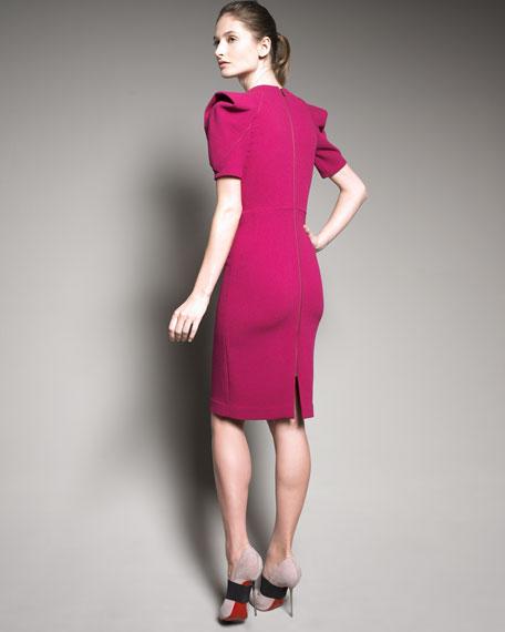 Gali Sculptural-Sleeve Dress