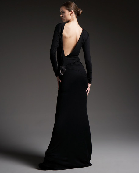 Element Side Long-Sleeve Jersey Gown