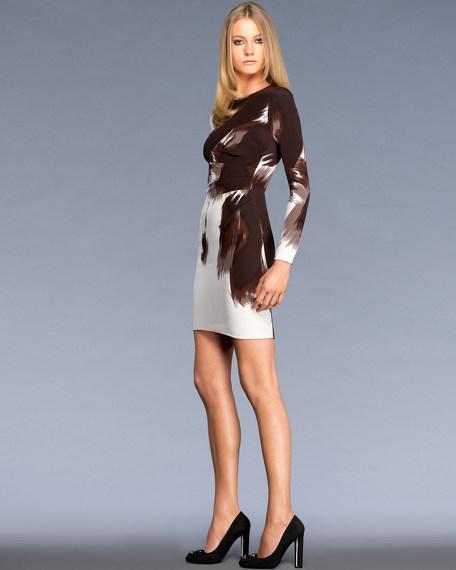 Long Sleeve Side Drape Dress in Abstract Print