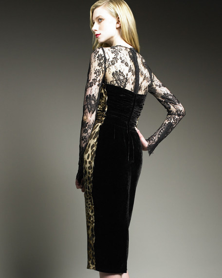 Velvet-Back Leopard Dress