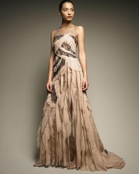 Tiered Silk Gown