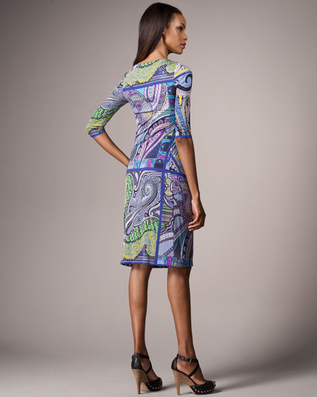 Paisley-Print Ruched Jersey Dress